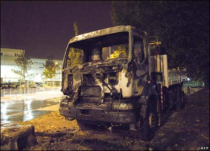 A destroyed truck in Sevran, Paris