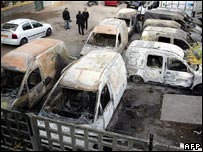 Cars burnt out during riots in Clichy-sous-Bois
