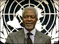 UN Secretary General Kofi Annan speaks after the report