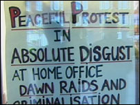 Protest poster in door
