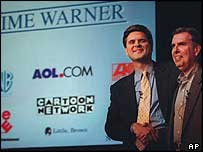 AOL chief Steve Case and Time Warner chief Gerald Levin as the deal is announced, Monday, Jan. 10, 2000