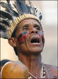 Brazilian Indian at a protest in Porto Alegre in 2005