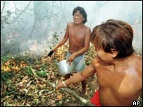 Two Yanomami Indians work at putting out a fire