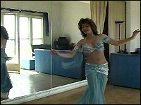 Belly dancer Liza Laziza practises in her Nile-side studio