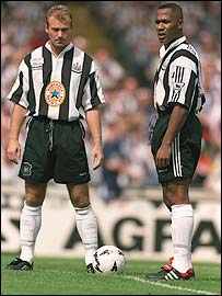 Former striker partners Alan Shearer (left) and Les Ferdinand