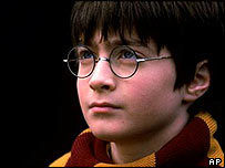 Daniel Radcliffe playing the part of Harry Potter