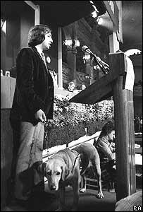 David Blunkett and guide dog Ruby at the Labour Party Conference in 1973