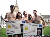 Naked ID card protesters