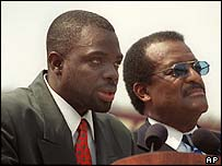 Johnnie Cochran with Haitian immigrant Abner Louima