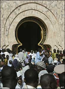 Worshippers in front of the main mosque in Touba