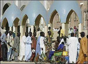 Worshippers waiting to enter the main mosque in Touba