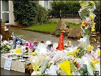 Flowers left at the crash scene