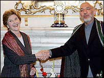 Laura Bush and Hamid Karzai