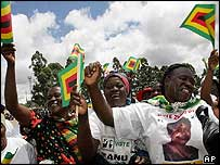 Zanu-PF supporters singing at an election rally