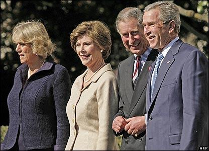 The Duchess of Cornwall, Laura Bush, Prince Charles and President Bush