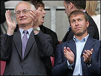Chelsea chairman Bruce Buck (left) and owner Roman Abramovich