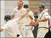 Australia players celebrate in Auckland