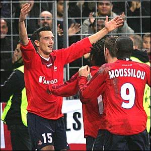 Lille's Milenko Acimovic celebrates taking the lead