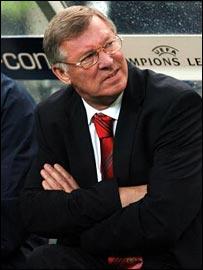 Man Utd boss Sir Alex Ferguson looks nonplussed during his side's defeat
