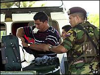 Venezuelan national guard at a border checkpoint