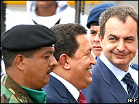 Venezuelan President Hugo Chavez (centre) and Jose Luis Rodriguez Zapatero (right)