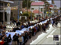 Argentine war veterans marking the 20th anniversary of the Falklands conflict on 2 April 2, 2002, in Ushuaia, 2,100 miles south of Buenos Aires