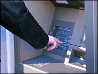 Person using a cash machine