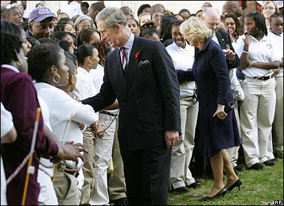Charles and Camilla at a Washington school