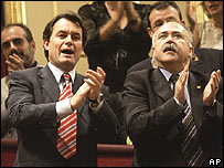 Catalan politicians Artur Mas (left) and Joseph Lluis Carod Rovira