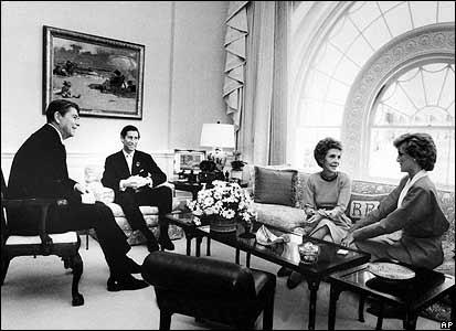 Ronald Reagan, Prince Charles, Nancy Reagan and Princess Diana