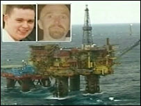 Victims Sean McCue (left) and Keith Moncrieff and the Brent Bravo platform