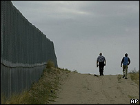 Boundary wall on the US-Mexico border