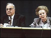 Helmut Kohl and Margaret Thatcher
