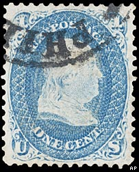"An 1868 one cent ""Z Grill"" stamp"