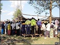 Gacaca grassroots court in Rwanda's central Mayange region on 10/03/05