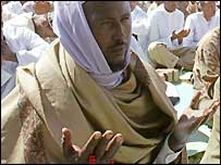 African Muslim praying on Eid al-Fitr