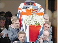 Coffin of Sqn Ldr Patrick Marshall