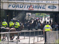 Police on Cardiff's streets after a football match