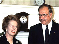 Lady Thatcher and Helmut Kohl