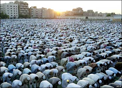 Eid al-Fir prayer outside the Imam Turki mosque at sunrise in Riyadh, Saudi Arabia