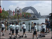 Children on a school trip to Sydney