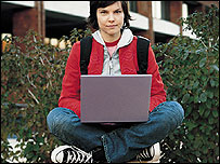Image of a young woman with a laptop
