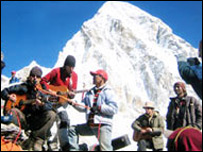 The Hidden playing at Everest base camp (credit: Nepal News)