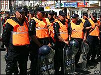 Policías en Mar del Plata, sede de la cumbre