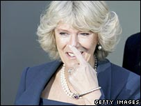 Camilla points to her nose after narrowly missing a glass door