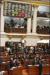Tablero que registra los votos en el Congreso peruano mostrando unanimidad.