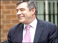 Gordon Brown arriving at the cabinet meeting