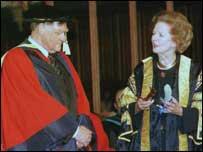 Sir Bernard Ingham and Baroness Thatcher