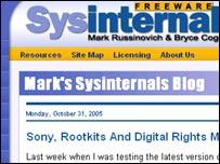 Screengrab of Mark Russinovich's site