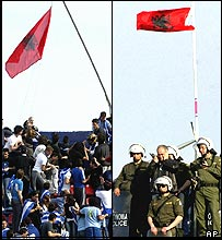 Attack on Albanian flag in Greece v Albania match